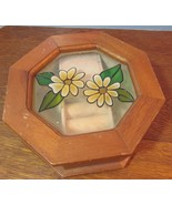 Vintage wood octagon  Jewelry /Music box.daisies flowers  - $17.33