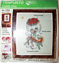 """TRAPUNTO 7353 Cuddly Kitty Crewel Embroidery 3D Stitch Kit 4"""" x 5"""" 1977 - $34.89"""