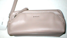 NWT New Womens $150 DKNY Tan Pouch Bag Wrist Strap Logo Leather Taupe 3 ... - $67.50