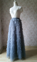 TIERED Long Bridesmaid Tulle Skirt Blue Puffy Maxi Plus Size Tiered Tulle Skirt  image 11
