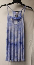 NEW WOMENS PLUS SIZE 1X SOFT BLUE & WHITE TIE DYE W BAR FRONT TANK TOP S... - $12.59