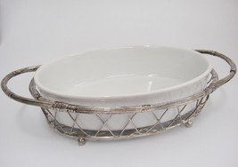 "Oval Serving Dish in Silver Tone Wire Basket Holder White Porcelain 9"" x... - $19.79"