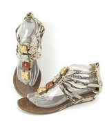 Paprika Sandals Python Jeweled Sandals Shoes 8.5 Faux Snakeskin Print - $15.79