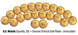Lot of 20 Nickels Uncirculated U.S. Coins GENUINE 24K GOLD PLATED Five C... - $12.16