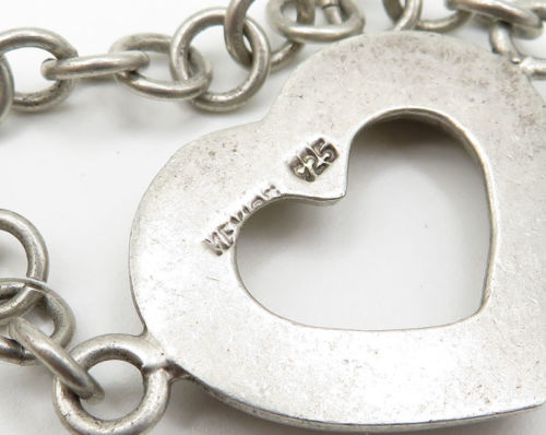 MEXICO 925 Silver - Vintage Love Heart Detail Toggle Closure Bracelet - B2167