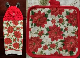 Poinsettia Kitchen Towel Topper + Potholder Set - $5.00