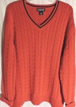 VTG 80's Men's Lands' End sweater XL 46 48 Red Blue Cotton Classic V-nec... - $17.05
