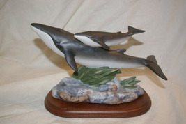 Homco Masterpiece Figurine Endangered Species Fin Whales 1995 Home Inter... - $56.00
