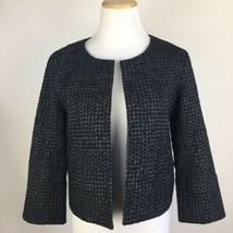 Eileen Fisher Womens Sz XS Crop Textured Organic Cotton Black Gray Blaze... - $64.30