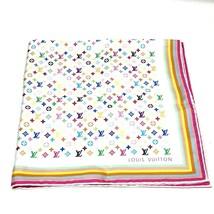 AUTHENTIC LOUIS VUITTON Monogram-Multicolore Scarf Blanc Silk 100% M71915 - $200.00