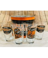 Harley Davidson Ice Bucket With 4 Printed Pint Glasses Collectable - $56.10