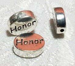 Oval HONOR Word FINE PEWTER DISC BEAD 11mm L x 9mm W x 3mm D Hole 1.5m