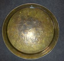 Antique Islamic Brass Tray Silver & Copper Inlaid Damascus Oriental Wall Hang image 5