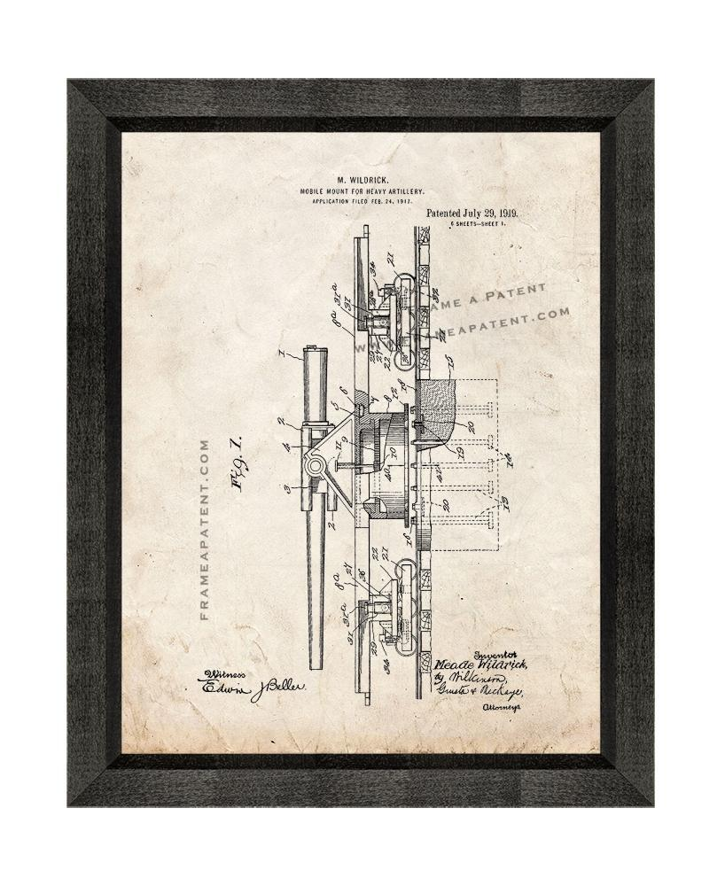Primary image for Mobile Mount For Heavy Artillery Patent Print Old Look with Beveled Wood Frame