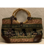 Relic Jungle Bamboo Handle Purse Safari Monkey Print Red Green Brown Canvas - $29.99