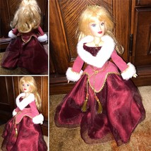 Gorgeous Collectible Vintage Porcelain Ceramic Doll in a Red Dress Chris... - $49.99