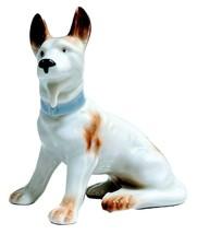 Vintage German Shepherd Porcelain Figurine Japan Brown & White w/ Blue C... - $16.95