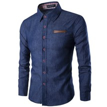 2018 New Fashion Spell Leather Men Cotton Denim Shirts Casual Long Sleeve Men's  - $45.70