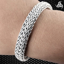 "HEAVY Viking Weave Bracelet Sterling Silver 8.25"" 10 mm Wide Bali Handcr... - $224.90"