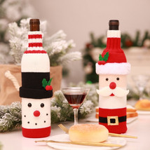 Christmas Red Wine Bottle Cover Organizor New Year Decoration For Home P... - $19.79