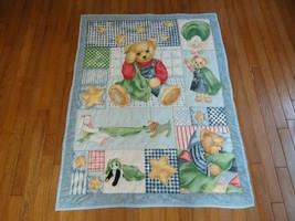 Vintage QUILT Teddy Bear Rabbit Duck Dog Panda Blanket Handmade Cotton - $37.53
