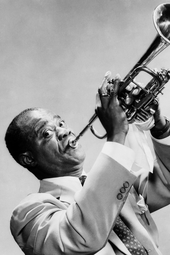 Primary image for Louis Armstrong Playing Trumpet 18x24 Poster