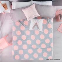Pink Grey Polka Dots Blanket Fleece Queen Bedding Decoration Gift Teens Girls Nw - $49.50