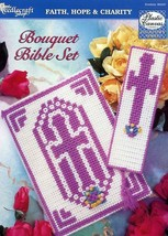 Bouquet Bible Set Cover Bookmark Plastic Canvas Pattern Leaflet NEW - $2.22