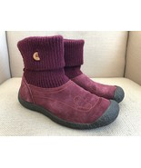 KEEN Shay Burgundy Wine Suede Sweater Cuff Pull On Boots US 7.5 - $28.04