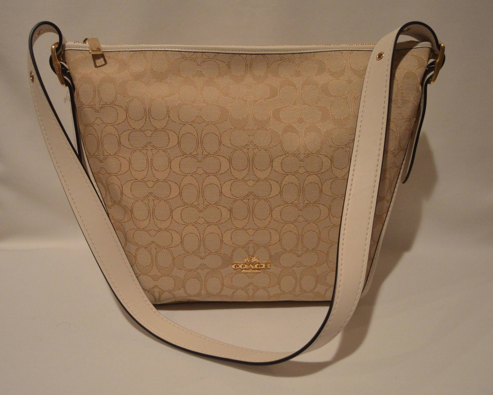 Coach 25698 Signature Dufflette Shoulder Bag Light Khaki & Chalk NWT