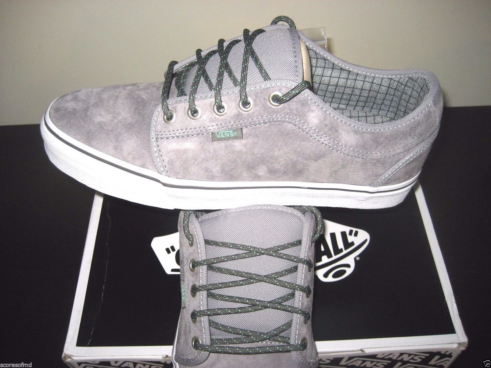 6246eb8c51 Vans Chukka Low Hiker Grey Mint Suede Canvas Skate Shoes Size 8 VN-0UOG9VY