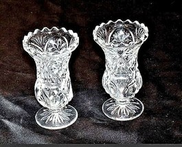 Cut Glass Goblets with Detailed Design AA18-11803  Vintage Heavy