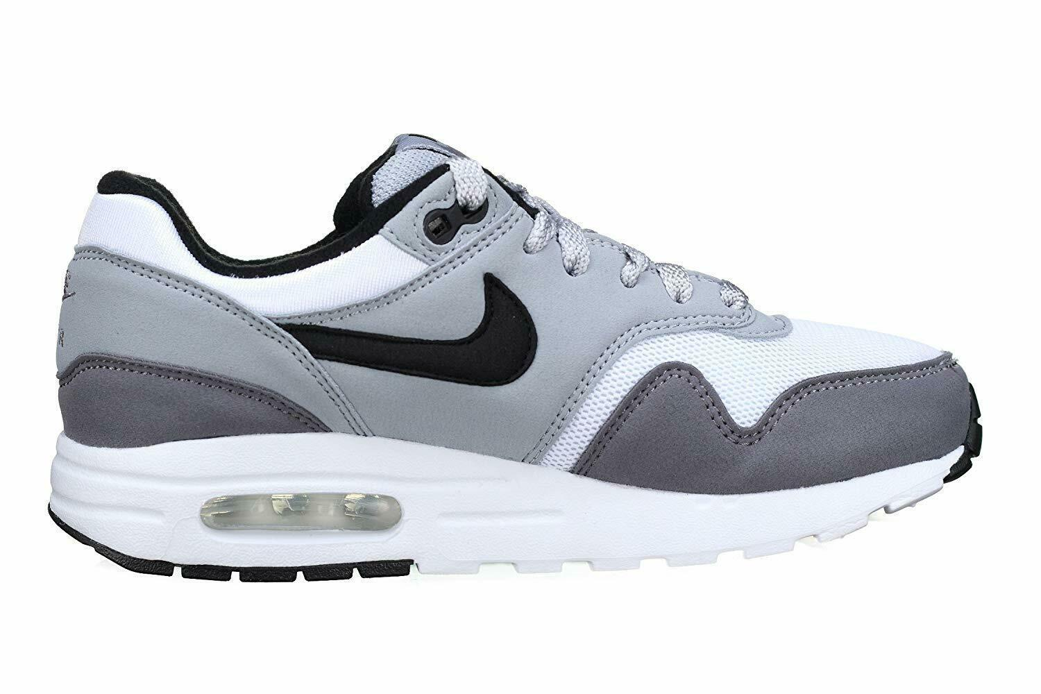 Nike Air Max 1 (GS) White Black Wolf Grey Gunsmoke Kids Running Shoes 807602 108