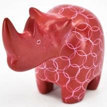 Tabaka Chigware Hand Carved Kisii Soapstone Red Rhinoceros Figure Made Kenya image 2