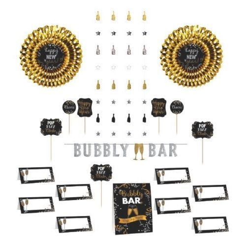 New Years Eve Bar Decorating Kit  Banner, Picks, Cards, Fans, Decor 23 Pc