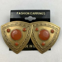 Vintage Big Shield Shape Orange Enamel Statement Earrings Brass NOS 80s 90s - $14.80