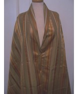 100″ BEIGE SILK TAFFETA SAFFRON RUST GREY OFFWHT STRIPES FABRIC DRESS/HOME #BP41 - $70.00