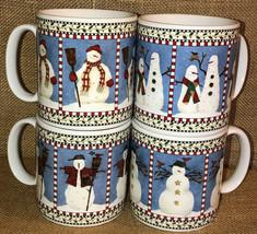 Debbie Mumm Snowman Mugs Set of 4 Christmas Sakura 12 ounce More Available - $19.99