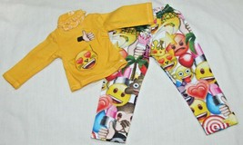 """14"""" doll clothes hand made outfit pajamas emojis emoticon yellow shirt t... - $8.90"""