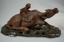CHINESE BUFFALO OXEN FIGURE WOODEN CARVED ANTIQUE BASE    #2 - $188.49