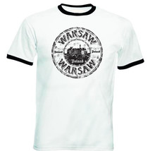Warsaw Poland 1 - New Black Ringer Cotton Tshirt - $26.49