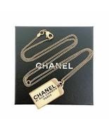CHANEL Logo Plate Necklace Gold  - $582.30