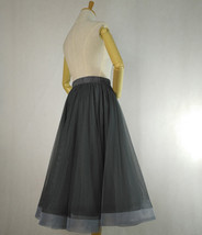 2020 High Waisted Ruffle Tulle Tutu Skirt Layered Tulle Midi Skirt Outfit T1880 image 5