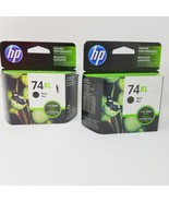 Set of 2 New Genuine HP 74XL Black Ink Cartridges Expired with box wear - $39.59