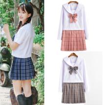 Japanese JK High School Sailor Uniform Plaid Check Skirt Dress Cosplay C... - $30.99
