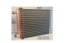 """12x12 Water to Air Heat Exchanger~~1"""" Copper Ports w/ EZ Install Front F... - $71.06"""