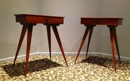 2 MID CENTURY MODERN TOOTHPICK TABLES Desk w/ Drawer Eames style Rare - $2,944.44