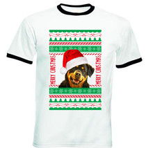 Rottweiler Real Ugly Christmas - New Black Ringer Cotton Tshirt - $26.93