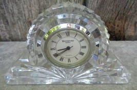 Waterford Ireland Crystal Clear Cut Glass Small Cottage Mantel Clock Shelf Desk - $24.00