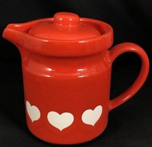 "WAECHTERSBACH Red Valentines White Hearts Pitcher with Lid 5 1/8""T W Germany - $29.65"